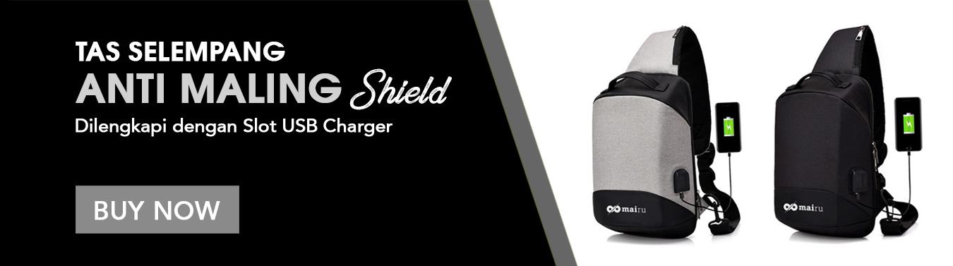 Mairu Tas Selempang Sling Bag Anti Maling USB Charger Mark Ryden